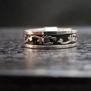 Other - 5️⃣For2️⃣5️⃣blk/SLVR Lobster stainless steel ring